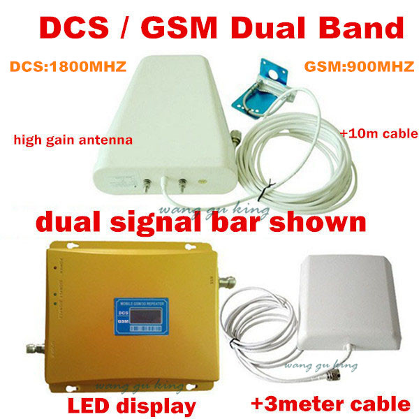 LCD Dual Band GSM DCS 2G Mobile Signal Booster GSM DCS 900 1800 REPEATER Amplifier + Log-periodic Antenna + Panel Antenna+ Cable