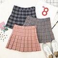 2017 harajuku estilo coreano retro falda de cintura alta mujeres primavera kawaii vintage verano nueva tela escocesa rosada linda faldas para mujer cd8451