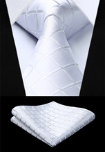 Party Wedding Classic Pocket Square Tie Woven Men Tie Fashion White Check Plaid Orange Necktie Handkerchief Set#TC442W8S(China)
