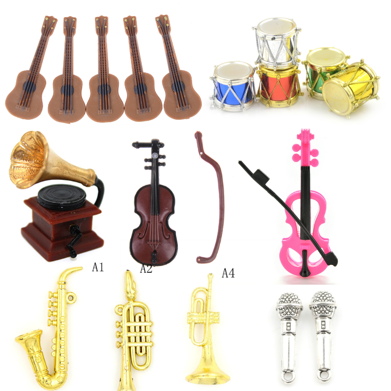 Guitar Violin Trumpet Saxophone Drum Microphone Phonograph Doll Musical Instrument For Dolls Music House Bar Doll Accessories
