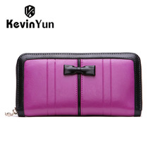 KEVIN YUN Designer Brand 2017 New Fashion Women Wallets Split Leather Long Lady Zipper Clutch Purse