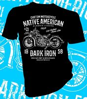 2018 New Fashion Men Tee Shirt Native American Dark Iron Motorcycle Biker Adult Unisex Female T