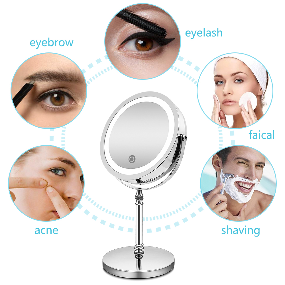 Image 2 - Makeup Mirror with Lights 10X Magnification Double Sided Vanity Mirror USB Charging Touch Dimming Bath Mirrors Christmas Gift-in Makeup Mirrors from Beauty & Health