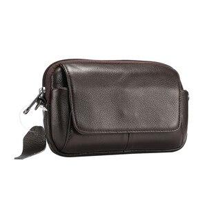 Image 2 - 100% جلد طبيعي الخصر حقيبة آيفون/سامسونج هاتف ذكي حقيبة كتف حزام الحقيبة ل أقل من 6.5 بوصة الهواتف المحمولة