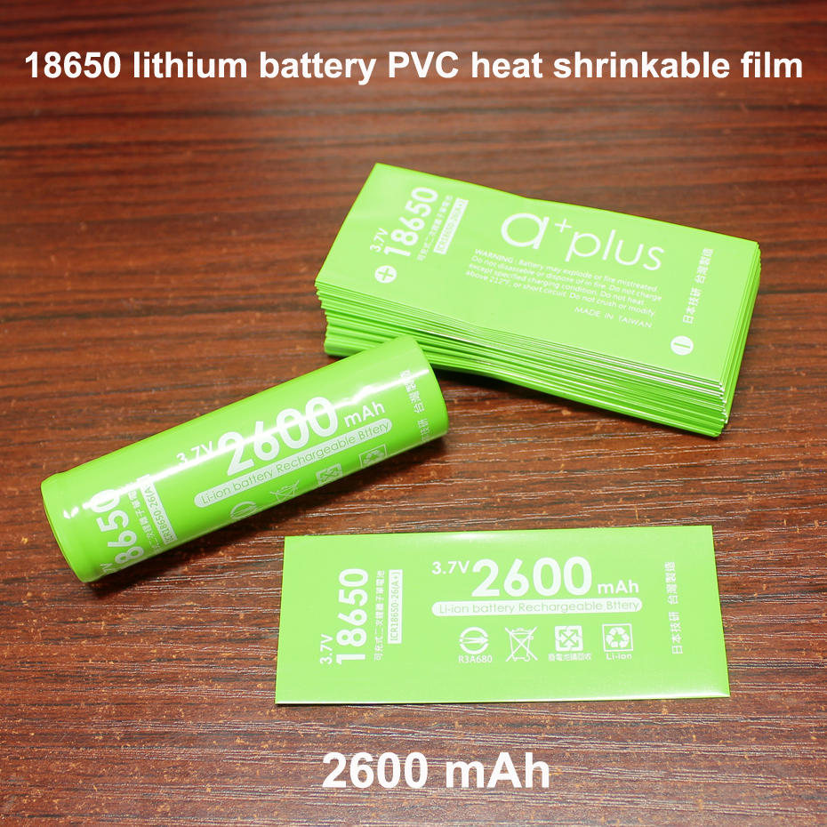 100pcs/lot 18650 Battery Skin PVC Heat Shrinkable Sleeve 2600MAH Battery Renovation Shrink Film Insulation Leather Case