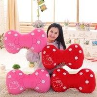 1 st 63 cm hot koop kinderen gift super leuke hello kitty Boog tie 3D Bot staven roze kat kussen creatieve pluche kussen gevuld speelgoed