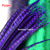 Wholesale perfect 100pcs high quality natural Lady Amherst Pheasant Feathers 30-35inch/80-90cm Decorative diy Purple