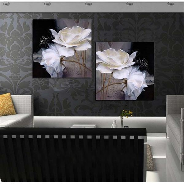 framed art black and white plates contemporary oil painting