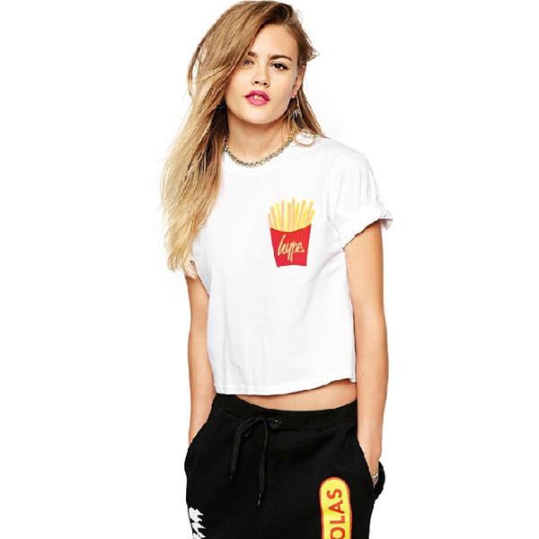 c7ea5e6a hype French fries Print White Girls Short T-shirts Womens Tops Tees Fashion  Casual O-neck Short Sleeve T shirt S-XXL