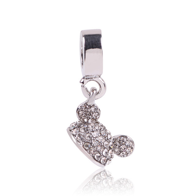 New Arrival Original Silver Color Beads Mickey Minnie Heart Charms Pendant Fits Pandora Bracelet DIY Jewelry Making Lovely Cute