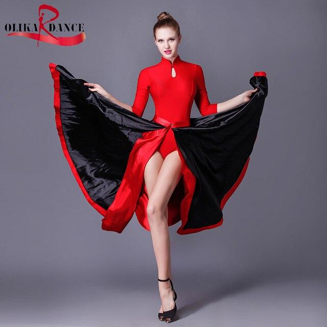 c867c71da VESTIDOS de salón de BAILE DEL VIENTRE FALDA de BAILE FLAMENCO/Nueva Ropa  De Baile Flamenco/Paso Doble Capa Falda de La Danza Rendimiento en de