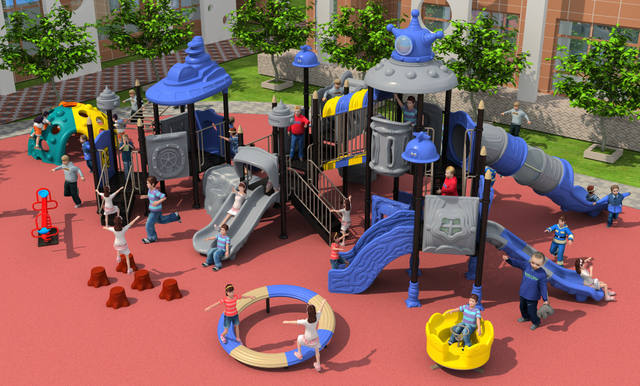 CE,ISO,TUV Exporting School Playground Structure Children Plastic Slide Kids  Outdoor Play Equipment