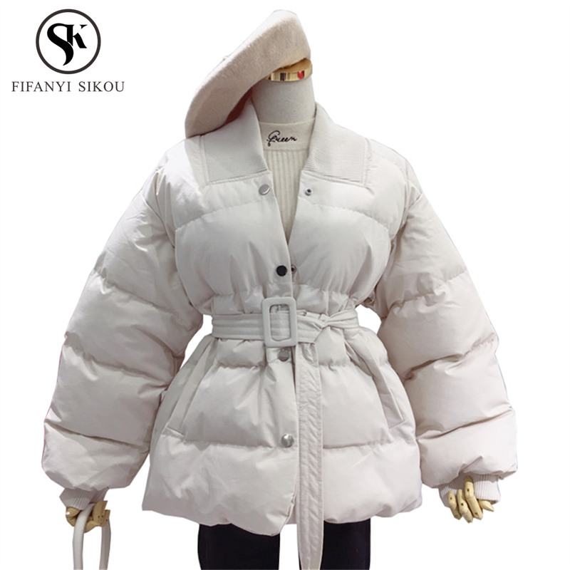 Winter jacket women Solid Casual Cotton padded coat Single Breasted Belt Loose Cotton Coats Warm parka