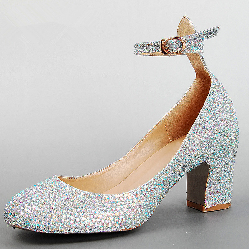 AB rhinestone wedding shoes silver/red genuine leather thick heel high shoes bridal shoes women formal dress crystal shoes
