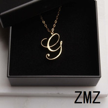 hot deal buy zmz 2018 europe/us fashion english letter pendant lovely letter g text necklace gift for mom/girlfriend party jewelry