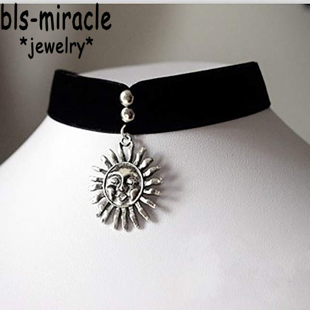5950f5104288e US $1.64 39% OFF|Bls miracle Punk Vintage Royal Black Sun Sunflower Beads  Choker Necklaces & Pendants for Women Accessories Gothic Necklace N071-in  ...