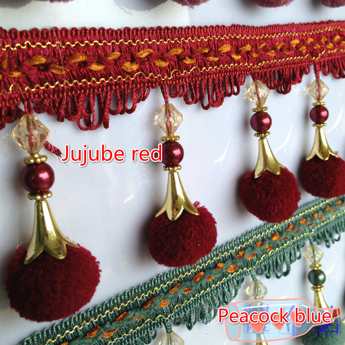 Tassel Fringe Provided 12yard/lot European Lace Tassel Fringe Hair Ball Curtain Sofa Tablecloth Bayberry Flocculus Lace Trim Diy Decoration To Be Renowned Both At Home And Abroad For Exquisite Workmanship Skillful Knitting And Elegant Design Apparel Sewing & Fabric