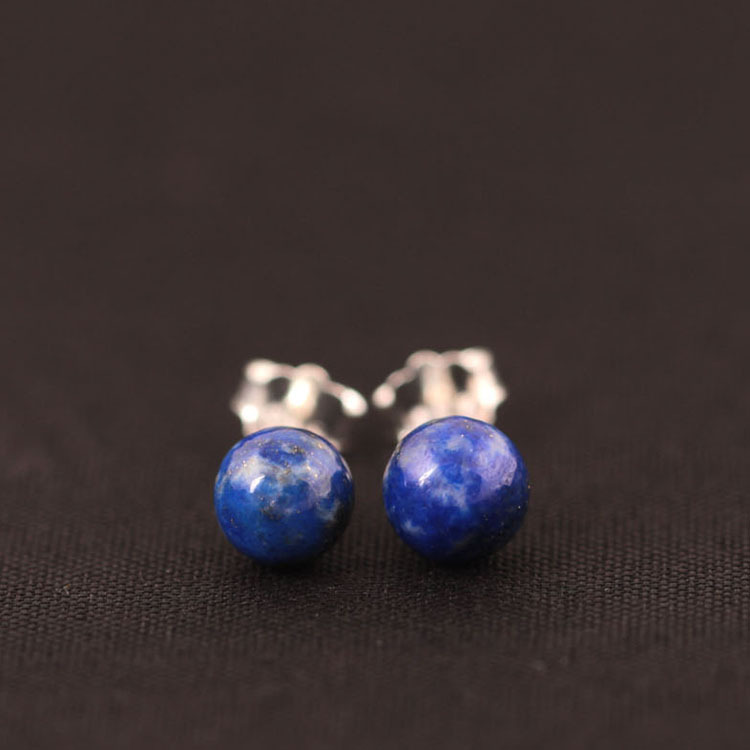 925 Sterling Silver Lapis Lazuli Pärlor Stud Örhängen För Kvinnor - Märkessmycken - Foto 2