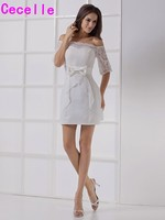 Sexy Ivory Mini Cocktail Lace Dresses Half Sleeves Off The Shoulder Girls Cocktail Party Dresses Mini