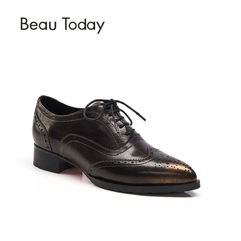 Beau Today Genuine Leather Oxfords Women Fashion Casual Flats Pointed Toe Brogue Style Calf Leather Shoes 21043 г москва ваз 21043