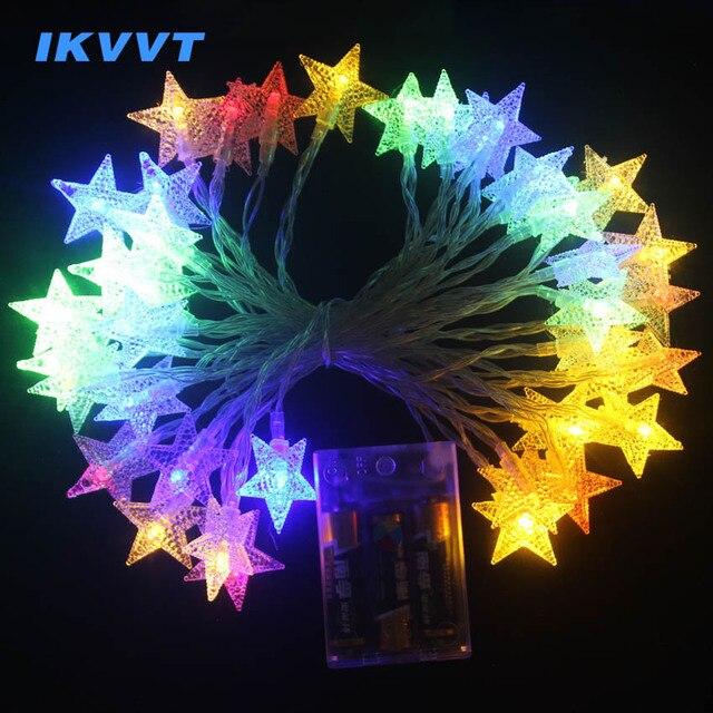 Ikvv Garland Led Star String Lights Indoor Fairy Christmas Tree Wedding Decoration Light Battery Operate Le Lamp