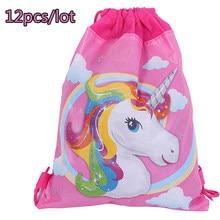 c0c6f96a477 12 unids lote cumpleaños fiesta decoración mochila niños favores unicornio  tema Niñas no tejido Telas cordón bebé ducha regalos