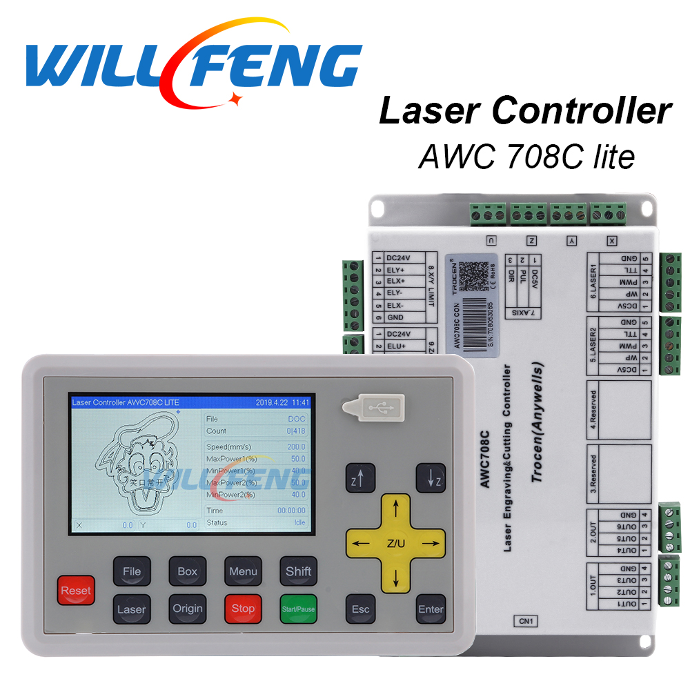 Will Feng Trocen Awc708c Lite Co2 Laser Controller System For Co2 Laser Engraving Cutter Machine laser