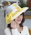 Envío Gratis Las Mujeres Elegantes Sombreros de La Iglesia Sombrero Señoras 100% Poliéster Cintas de Oro de Nuevo Diseño Superior Rhinestones Adornos