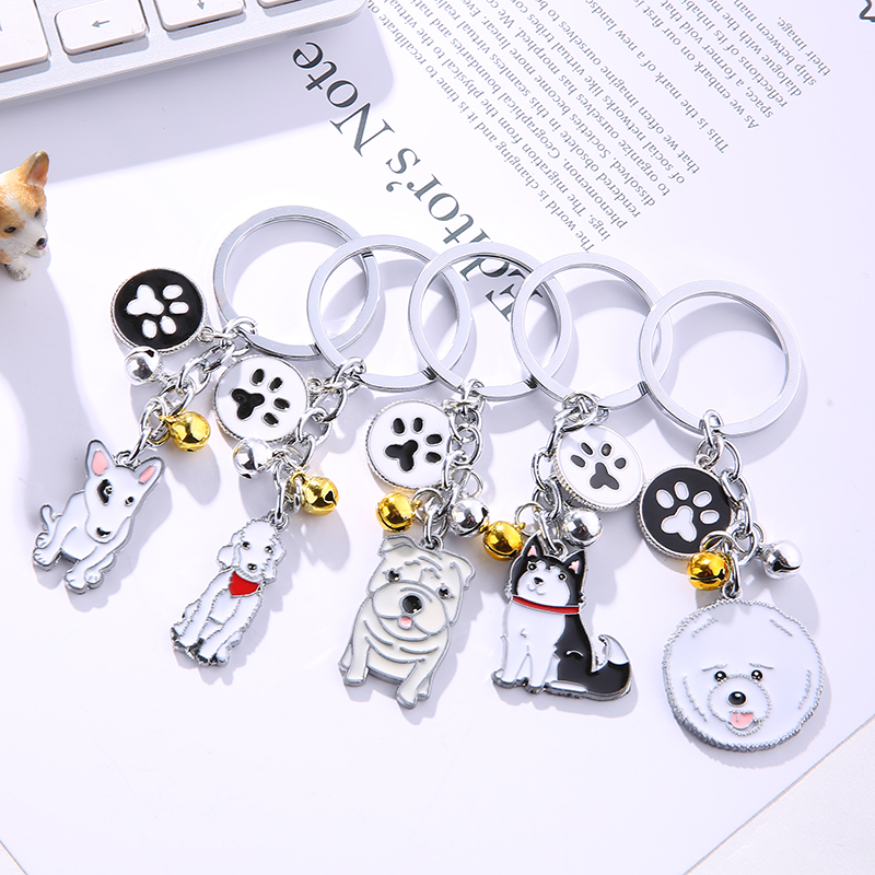 Cute Dog Keychain Metal Pet Keychain Bag Key Ring Lovely Animal Bells Keychains Car Keyring Corgi Sherina Husky Many Dog Breeds hotmeini 2x cute animal pet man s best friend welsh corgi dog car sticker for wall truck canoe home decor vinyl decal 9 colors