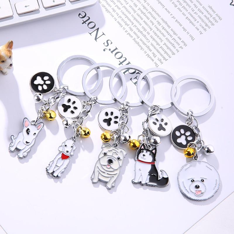 Cute Dog Keychain Metal Pet Keychain Bag Key Ring Lovely Animal Bells Keychains Car Keyring Corgi Sherina Husky Many Dog Breeds mini motorcycle helmet keychain cute keyring
