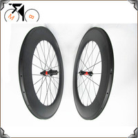 88mm 23mm 700c Japan Toray 700 Composite Bike Wheels Straight Pull Hub Carbon Wheelset Clincher Version