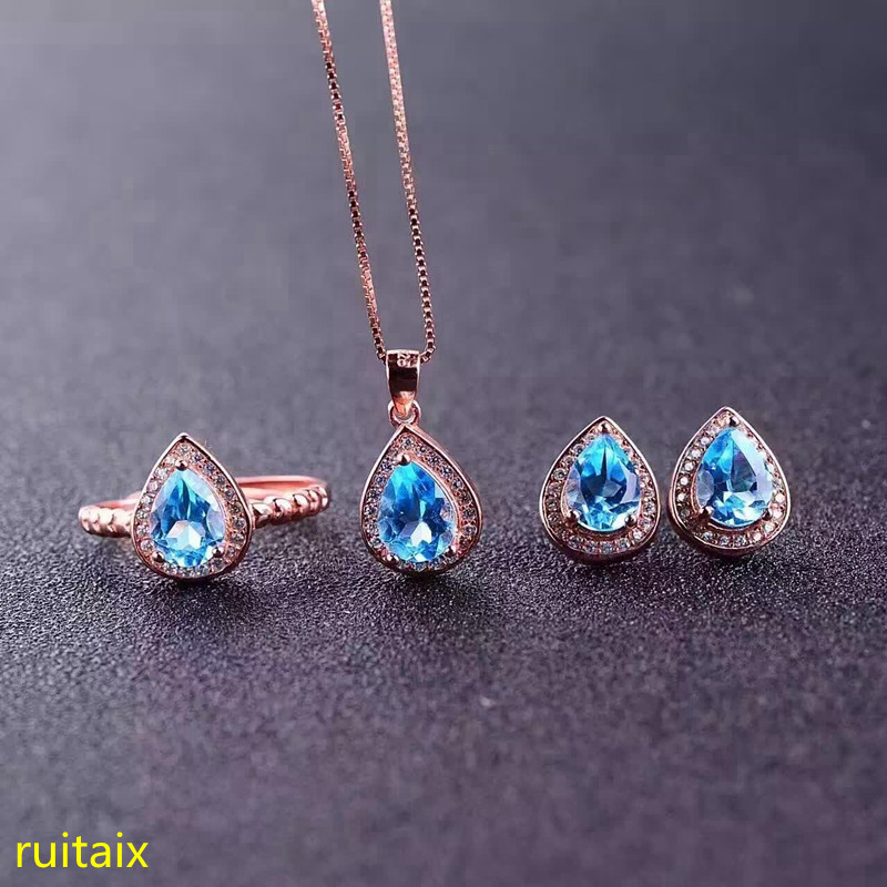 KJJEAXCMY boutique jewels 925 sterling silver inlaid drop blue topaz ring + pendant + earring jewelry set open silver color. pair of stylish rhinestone triangle stud earrings for women