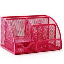 Ярко-розовые офисные принадлежности, сетчатый Настольный органайзер, настольный держатель для карандашей, аксессуары Caddy с ящиком, 7 отсеков
