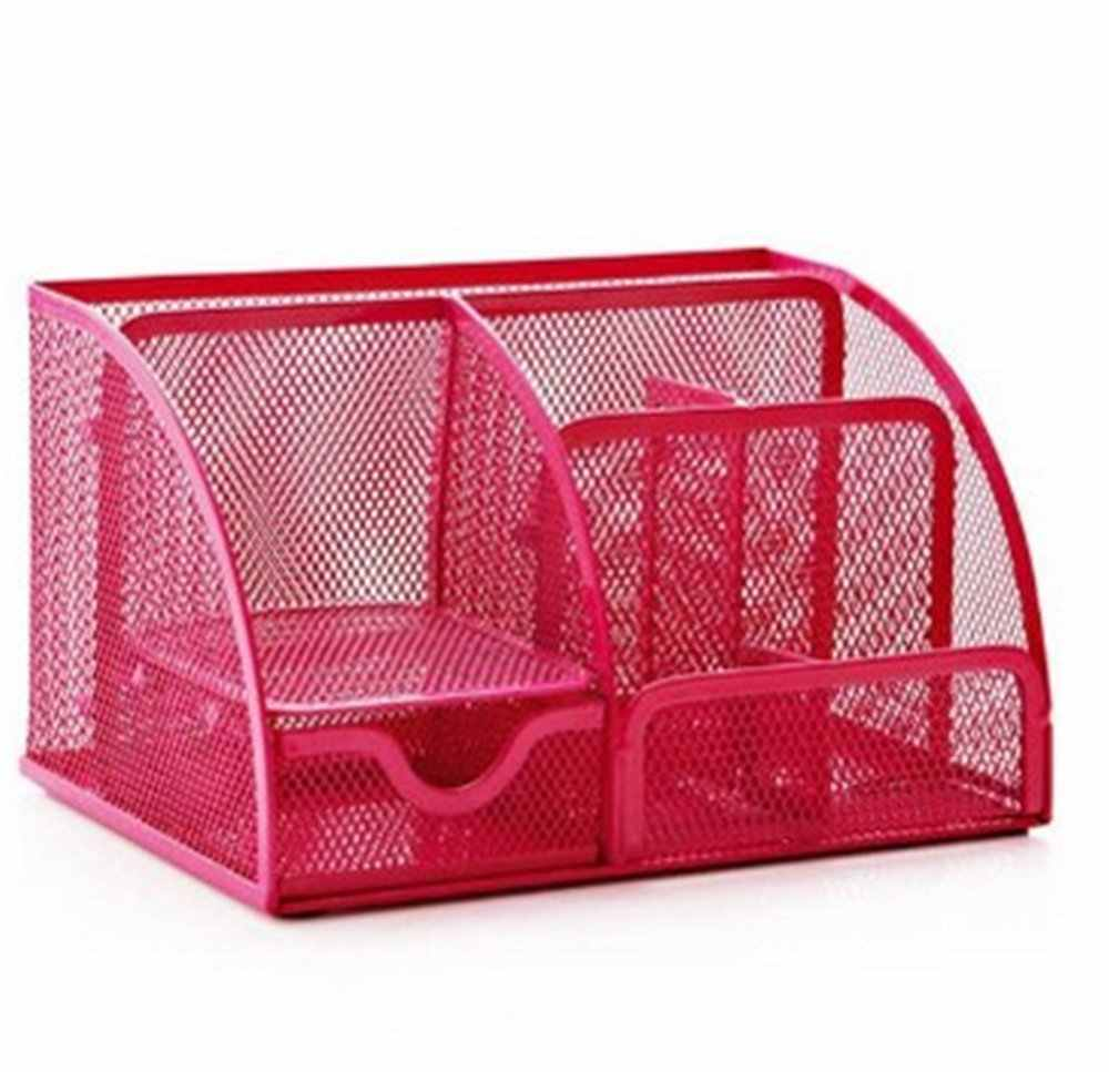 Hot Pink Office Supplies Mesh Desk Organizer Desktop Pencil Holder Accessories Caddy with Drawer, 7 Compartments