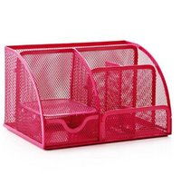 Hot Pink Office Supplies Mesh Desk Organizer Desktop Pencil Holder Accessories Caddy With Drawer 7 Compartments