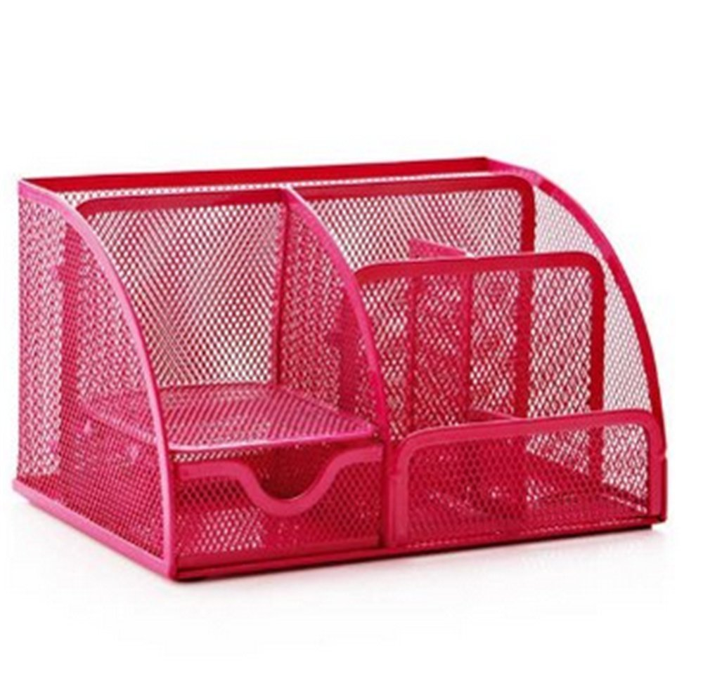 Superb Us 6 15 23 Off Hot Pink Office Supplies Mesh Desk Organizer Desktop Pencil Holder Accessories Caddy With Drawer 7 Compartments In Stationery Holder Beutiful Home Inspiration Xortanetmahrainfo