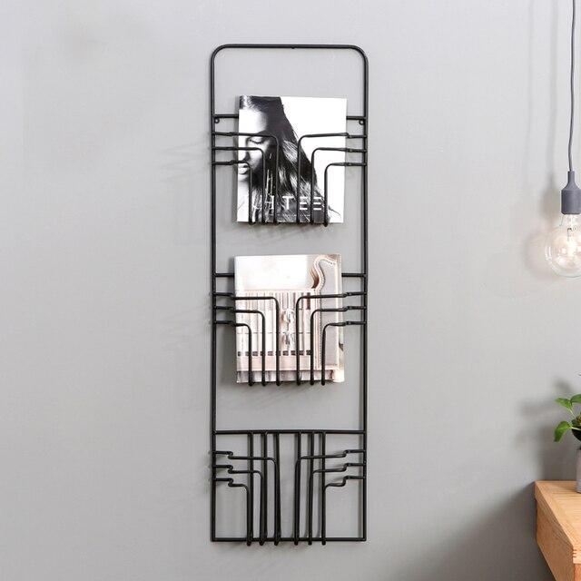 Nordic Modern Magazine Newpaper Wire Wall Mounted Storage Baskets Vintage Style bathroom shelves holder hanger black