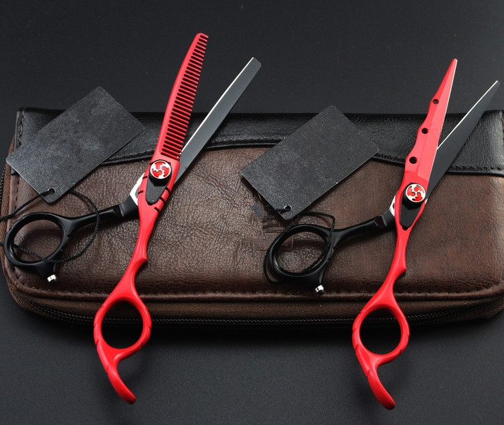Customize Professional 440c 6 Inch Red Cut Hair Scissor Thinning Barber Tools Cutting Shears Makas Hairdressing Scissors Set