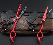 Özelleştirmek profesyonel 440c 6 inç kırmızı kesim saç makas İnceltme berber aletleri kesme makası makas kuaförlük makas seti