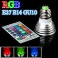 E27 E14 GU10 3 W RGB LED Luz AC85 ~ 265 V Spotlight Lamp Bulb com Controle Remoto