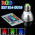 E27 E14 GU10 3W RGB LED Light AC85~265V Spotlight Bulb Lamp with Remote Controller
