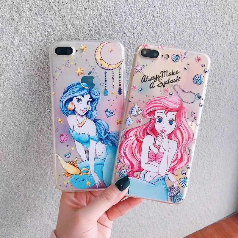 Mermaid Jasmine Princess Beautiful Girl Phone Case For iPhone 6 6s 7 8 Plus X Xs Max Xr Cute soft back tpu Clear Cover Fundas