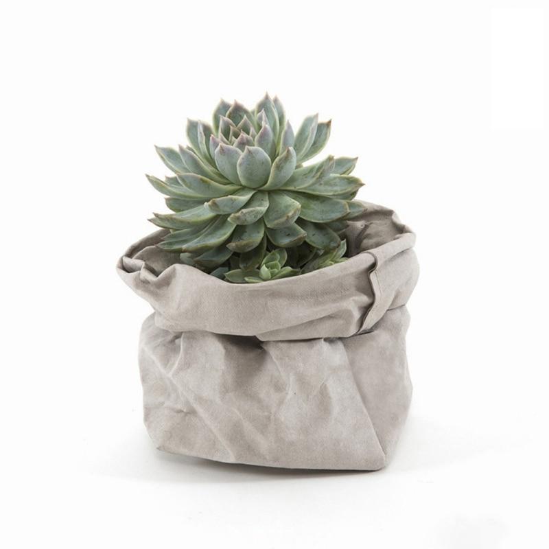 Cover Pouch Storage-Bags Flowerpot-Bag Sundries-Organizer Kraft-Paper Plants Washable