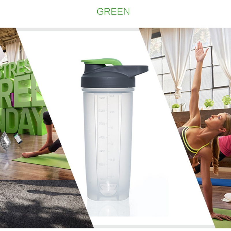 500ml Gyms Sports Shaker Bottle Leak Proof Plastic Protein Powder Shaker Translucent Fitness Water Bottles Direct Drink Bottle