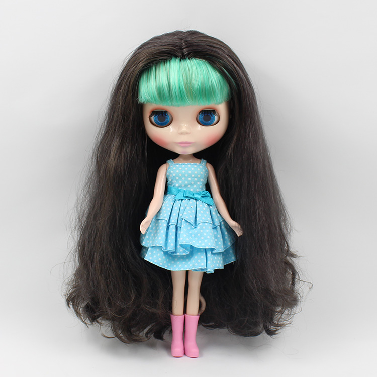 Nude blyth doll little sister B female long hair with green bangs  fashion dolls for girls free shipping neo blyth nude doll light gold hair with bangs suit for diy fashion dolls