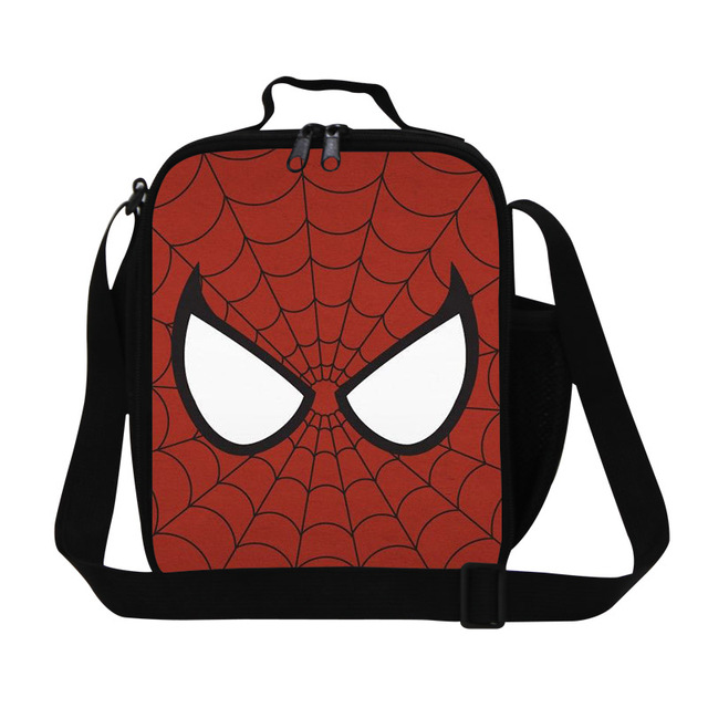 Designer Cartoon Cooler Lunch Bags Spider Man Children Picnic Food Bag Mens Small Thermal Lunch Box Lancheira Termica Infantil