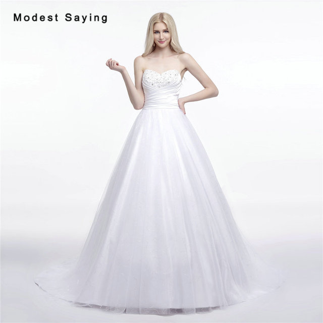Sexy White Ball Gown Sweetheart Beaded Wedding Dresses 2017 Formal Women Long Plus Size Bridal Gowns