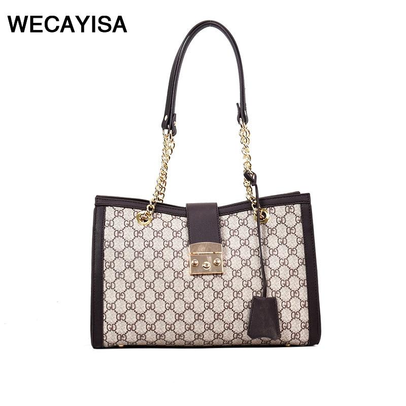 WECAYISA new geometric hit color printing Unisex handbag simple killer bags Cross section square chain handbags lady shoulder ba ...