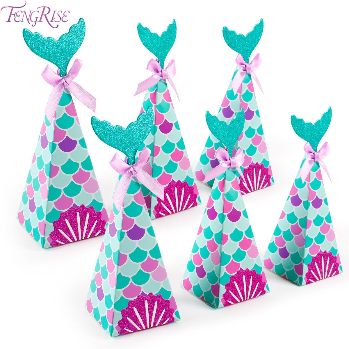 FENGRISE kleine Meerjungfrau Party Geschenk Candy Boxen Meerjungfrau Geburtstag Party Decor Kinder Geburtstag Partei Liefert 1 jahr Geburtstag Decor