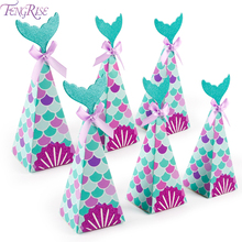 FENGRISE little Mermaid Party Gift Candy Boxes Birthday Decor Kids Supplies 1 year